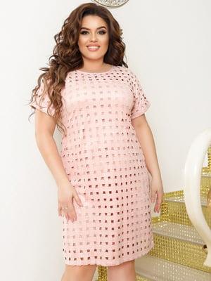 Сукня-футляр кольору пудри з візерунком | 5867207