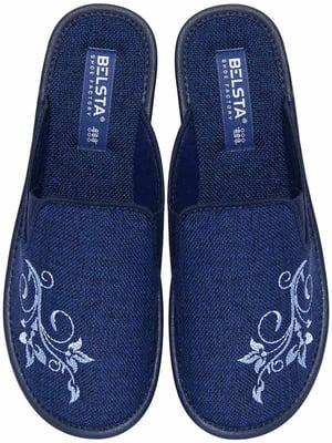 Тапочки сині з вишивкою | 5867396