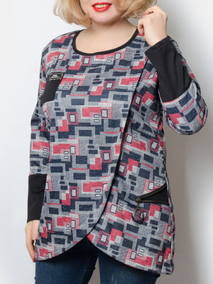 Блуза сіра у принт   5868988