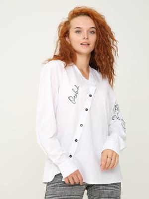 Блуза белая с принтом | 5869034