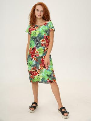 Платье-футболка разноцветное в цветочный принт | 5869052