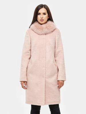 Пальто пудрового цвета с воротником   5869579