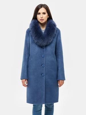Пальто синее с воротником   5869592