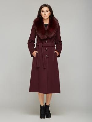 Пальто бордовое с воротником   5869597