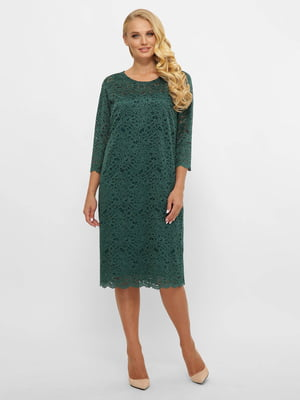 Платье А-силуэта темно-зеленое   5870036
