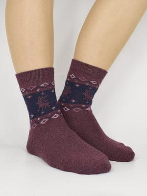 Шкарпетки бордові з принтом   5870344