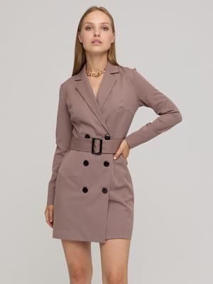 Платье-жакет цвета капучино в клетку   5872527