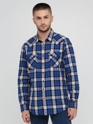 Рубашка синяя в клетку   5873153