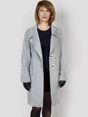 Пальто-накидка серое   5875976