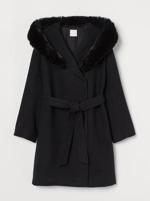 Пальто черное с капюшоном   5879651