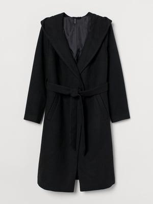 Пальто черное с капюшоном   5879777