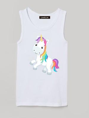 Майка біла з принтом «Let's go, unicorn»   5879813