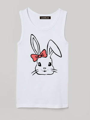 Майка біла з принтом «Pretty bunny»   5879815