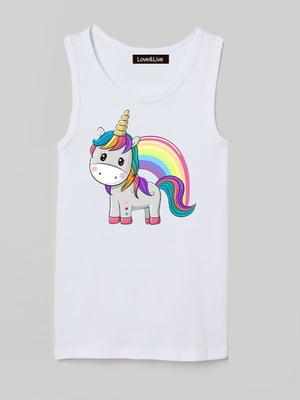 Майка біла з принтом «Rainbow unicorn»   5879817
