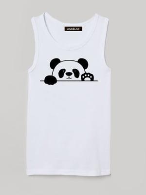 Майка біла з принтом «Привіт, панда»   5879824