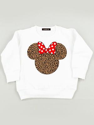 Світшот білий з принтом «Wild Minnie» | 5879827