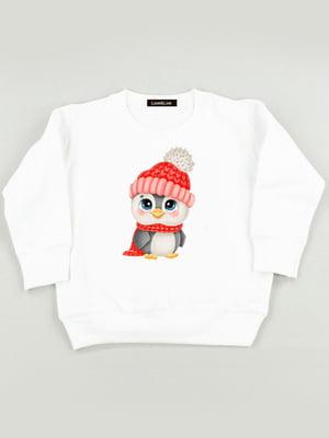Світшот білий з принтом «Пінгвінчик» | 5879837