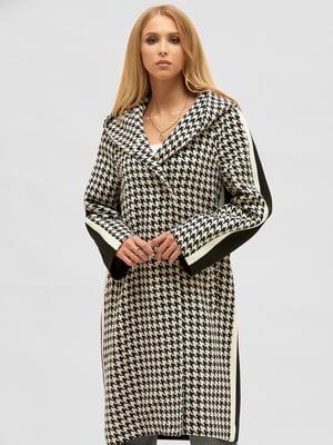 Пальто комбинированного цвета в «гусиную лапку»   5899502