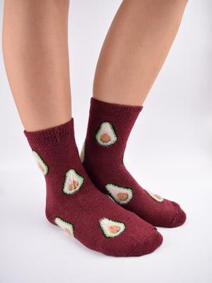 Шкарпетки бордові в принт   5902949