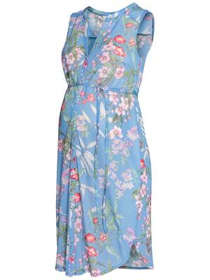 Туніка для вагітних блакитна в квітковий принт | 5904105