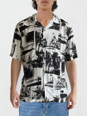 Рубашка белая в принт   5904747