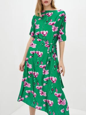 Платье А-силуэта зеленое в цветочный принт   5905283