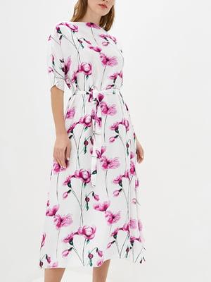 Платье А-силуэта белое в принт   5905284
