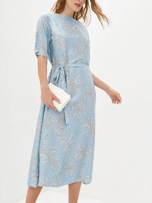 Платье А-силуэта голубое в принт   5905285