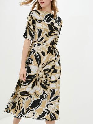 Платье А-силуэта коричневое в принт   5905286