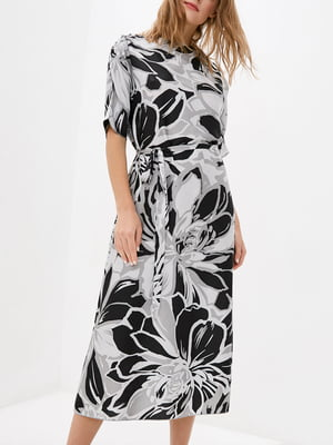 Платье А-силуэта черное в принт   5905287