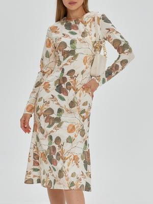 Платье бежевое с цветочным принтом   5906845