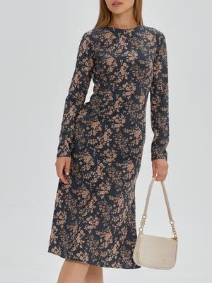 Платье черное с цветочным принтом   5906846