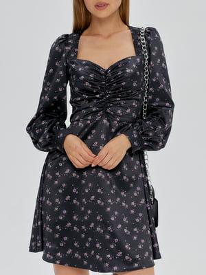 Платье черное с цветочным принтом   5906856