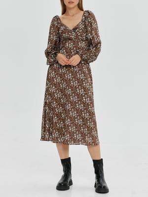 Платье коричневое с цветочным принтом   5906859