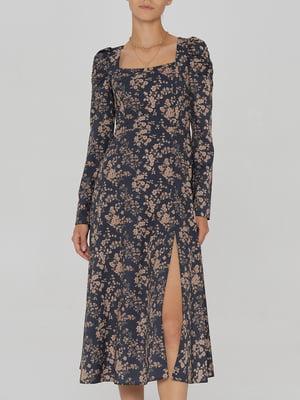 Платье черное с цветочным принтом   5906870