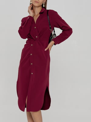 Платье-рубашка винного цвета   5906874