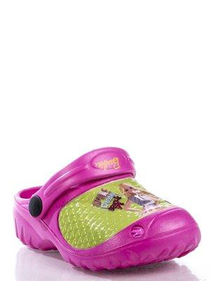 Кроксы розово-салатовые с изображением куклы Барби | 363436