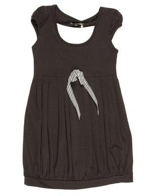 Платье черное со складками и бантиком | 711739