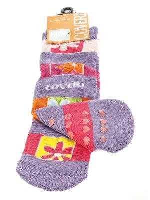 Носки сиреневые с контрастными полосками | 576570