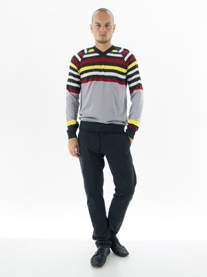 Пуловер в разноцветную полоску | 52982