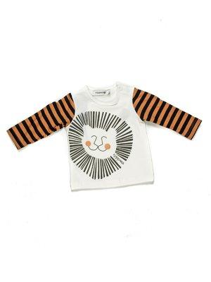 Джемпер білий з контрастним рукавом в смужку і принтом | 628862