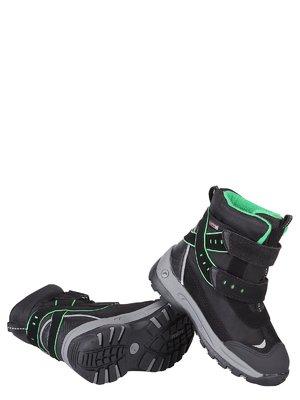 Ботинки черные с салатовой отделкой | 648748