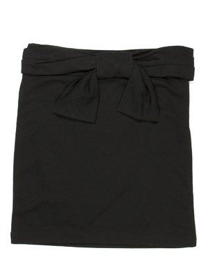 Юбка черная с поясом-бантом | 449572