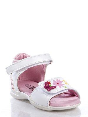 Сандалии белые с цветочным принтом и декоративной бабочкой | 363447