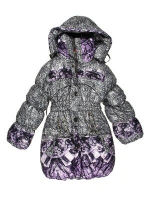 Пальто сіро-бузкове комбіноване | 623519