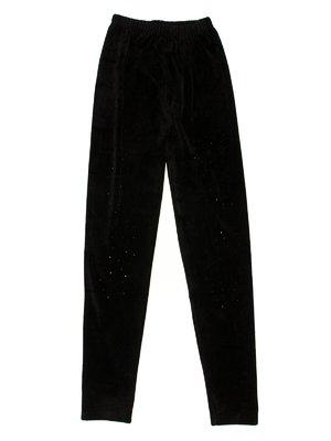 Легінси чорні велюрові з декором   623524