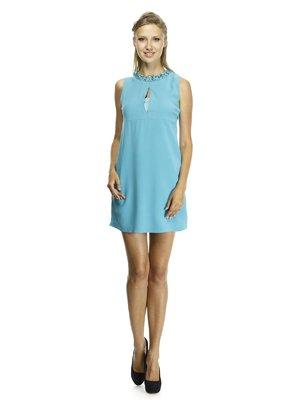 Платье бирюзовое с оригинальной отделкой горловины   492923