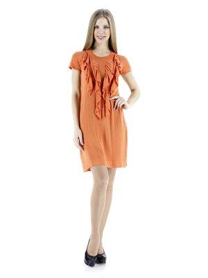 Платье оранжевое с воланами   72011