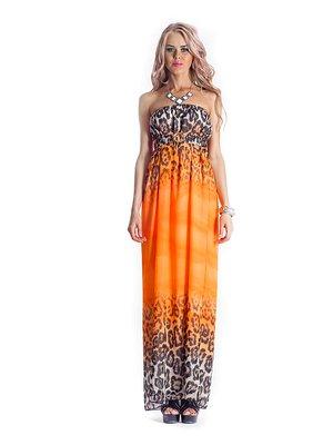 Сукня-бюстьє помаранчева з анімалістичним принтом | 535792