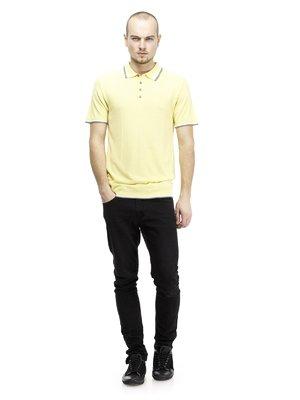 Футболка-поло светло-желтая с контрастной отделкой | 64376